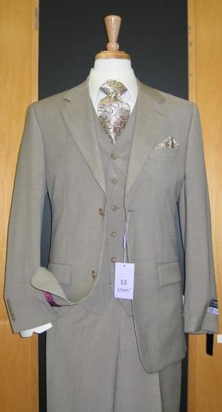 Mens Beige Two Button Flat Front three piece suit, act now only $165.00