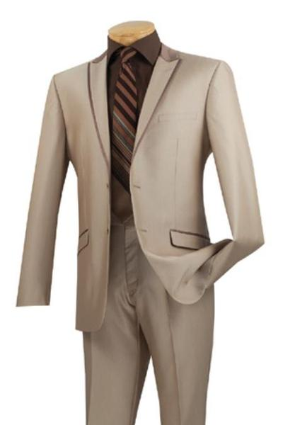 Mens Beige Two Button Peak Lapel Tuxedo Trimmed Formal wear Suit, act now only $175.00