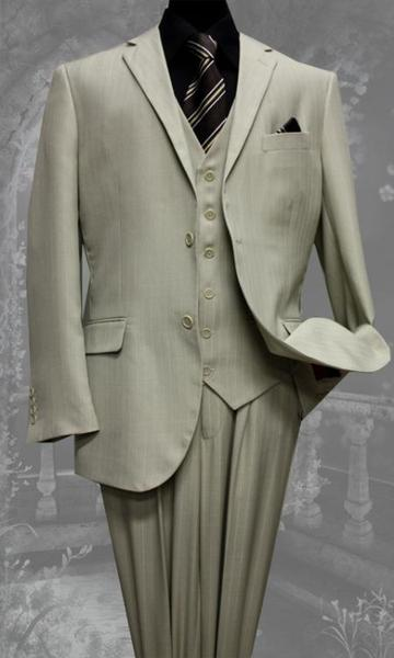 Mens Beige Two Button Style Pinstripe Suit, act now only $175.00