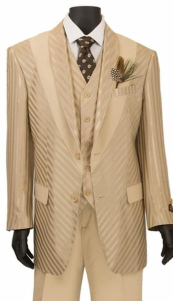 Mens Beige Two Button Style Shiny Stripe Suit, act now only $149.00