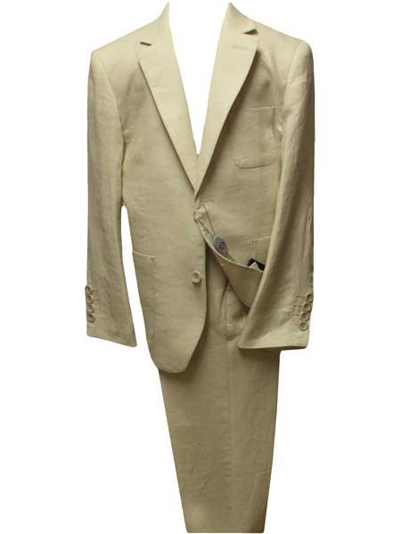 Mens Beige Two Button Style Single Breasted Linen Notch Lapel Suit, act now only $139.00