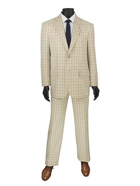 Mens Beige Two Button Style Two Button Suit, act now only $140.00