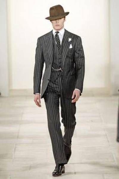 Mens Black and Bold Chalk Gangster White Stripe Two Button Notch Lapel Suit, act now only $175.00