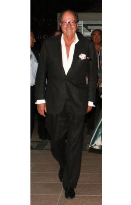 Mens Black Linen and Cotton Fabric Two Button Style Suit, act now only $159.00
