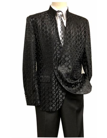 Mens Black Mandarin Collar Double Breasted Suit, act now only $189.00