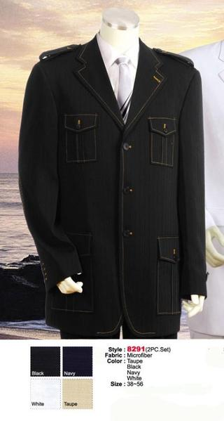 Mens Black Military Safari Style Leisure Casual Suit, act now only $175.00