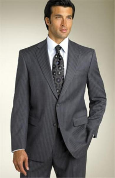 Mens Black Mini Track Pinstripe Two Button Modern Fit Suit, act now only $110.00
