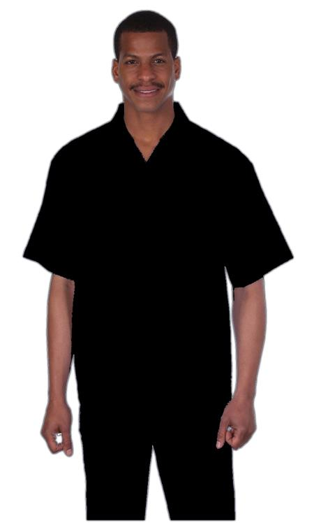 Mens Black  Online trendy casual two piece sets Summer Suit, act now only $75.00