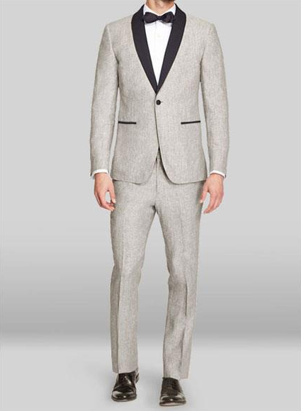 Mens Black or Light Grey Two Button Style Notch Lapel Suit, act now only $595.00