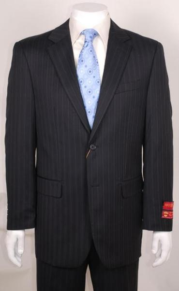 Mens Black Pinstripe 2 Button Style without pleat flat front Pant, act now only $160.00
