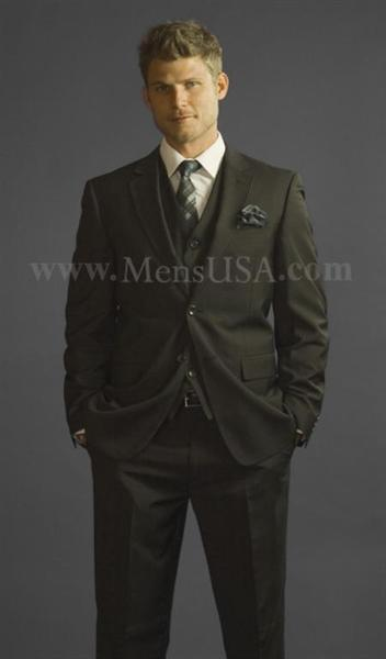 Mens Black Pinstripe Two Button Style SUit, act now only $165.00