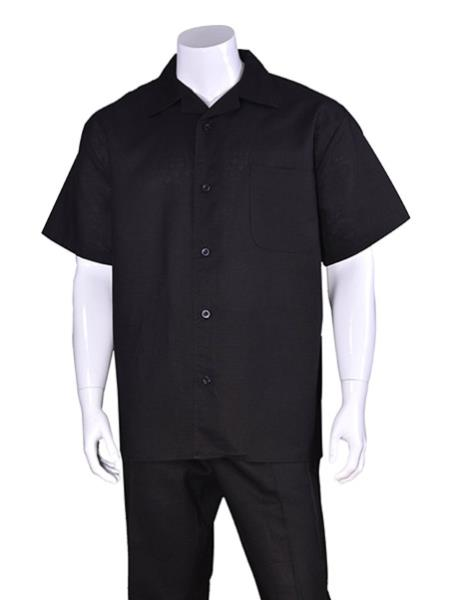 Mens Black Plain Short Sleeve Linen Casual Walking Suit, act now only $75.00