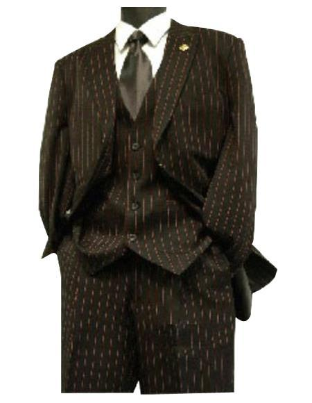 Mens Black Red Stripe Three Piece Suit, act now only $165.00
