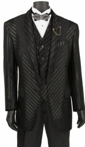 Mens Black Shiny Stripe Two Button Style Suit, act now only $149.00