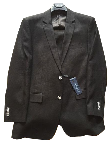 Mens Black Single Breasted Two Buttons Linen Modern Fit lined suit, act now only $189.00