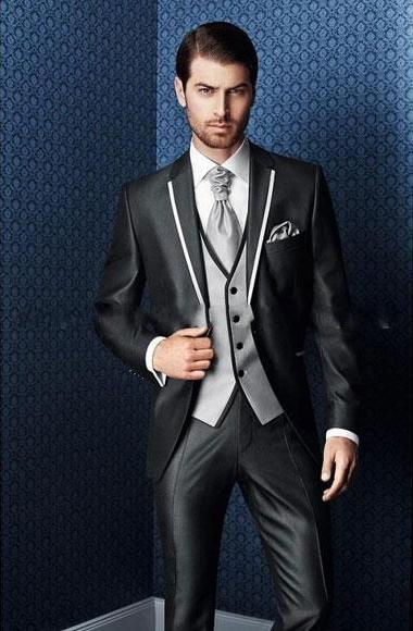 Mens Black Tuxedo With White Trim Two Toned Lapel Suit, act now only $595.00