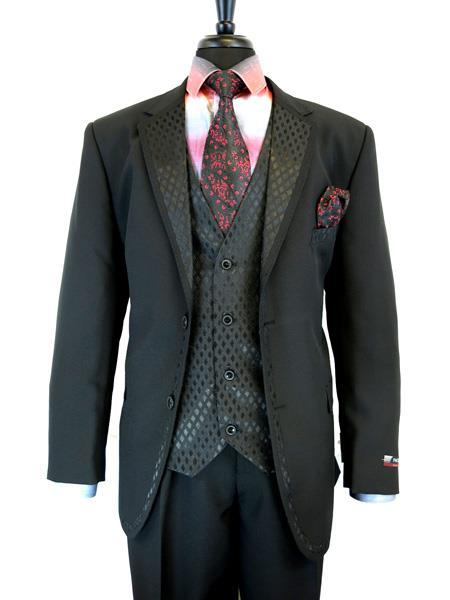 Mens Black Two Button Single Breasted Notch Lapel Suit, act now only $199.00