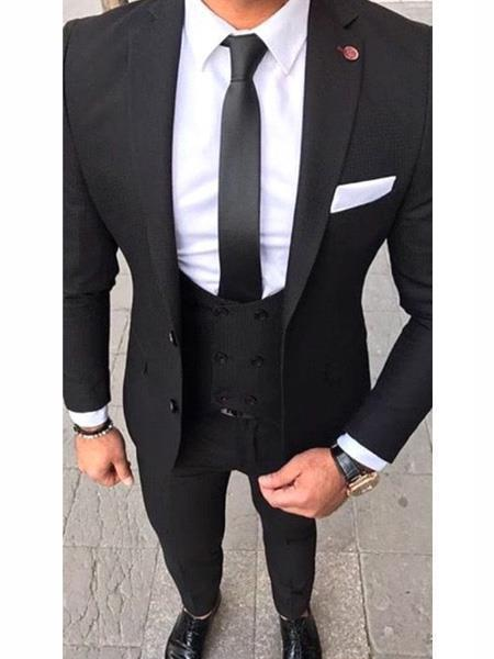 Mens Black Two Button Stlye Slim Fit Suit, act now only $189.00