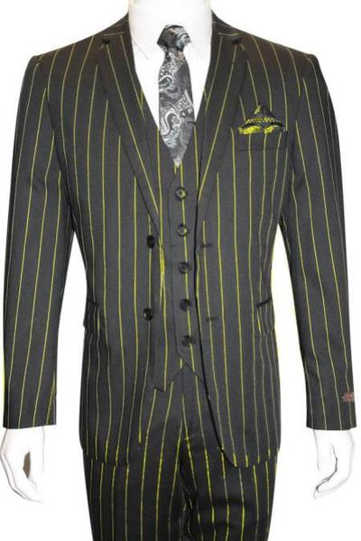 Mens Black Two Button Style Bold Pinstripe Suit, act now only $165.00