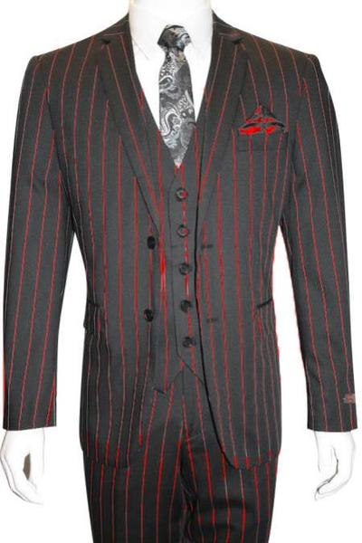 Mens Black Two Button Style Bold Stripe Suit, act now only $165.00