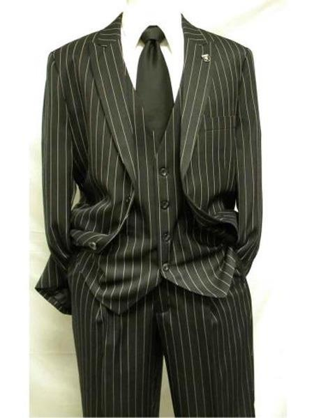 Mens Black Two Button Style Gangster Stripe Style Suit, act now only $195.00