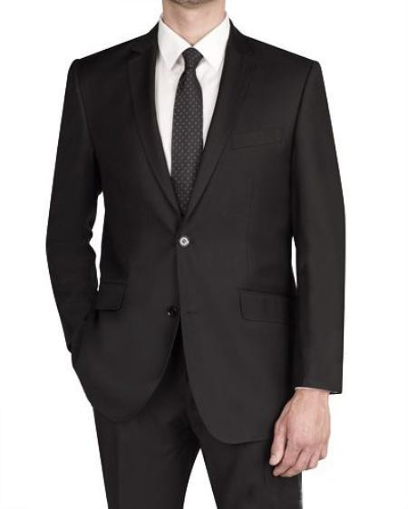 Mens Black Two Button Style Italian Designed Fabric Slim narrow Style Fit Suit, act now only $165.00
