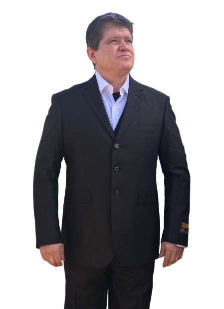 Mens Black Two Button Style Italian Summer Fabric Side Vented Suit, act now only $135.00