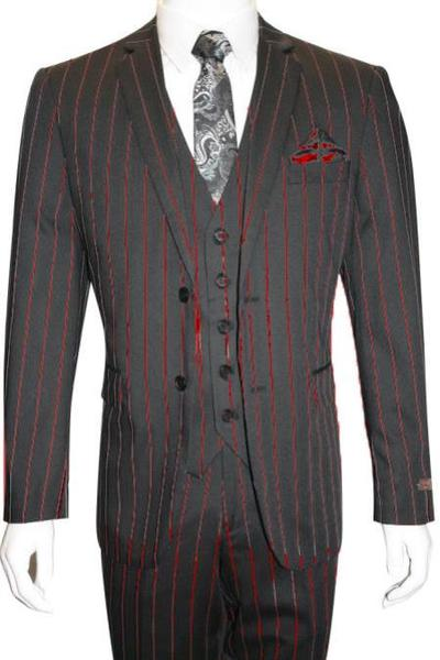 Mens Black Two Button Style Red Pinstripe Suit, act now only $165.00