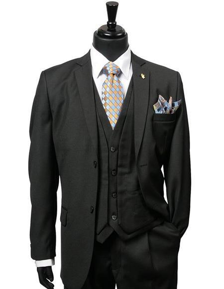 Mens Black Two Button Style Single Breasted Suit, act now only $175.00