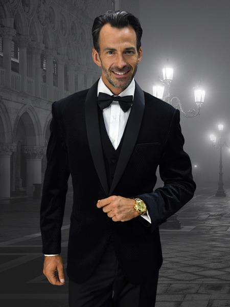 Mens Black Two Button Style Velvet Suit, act now only $250.00