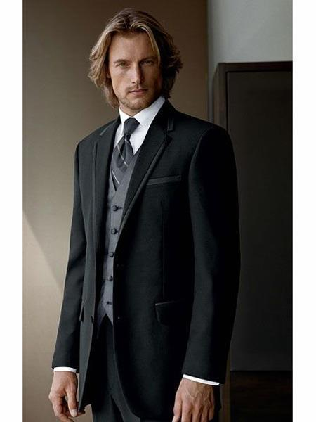 Mens Black Two Button Style Wool Three Piece Suit, act now only $175.00