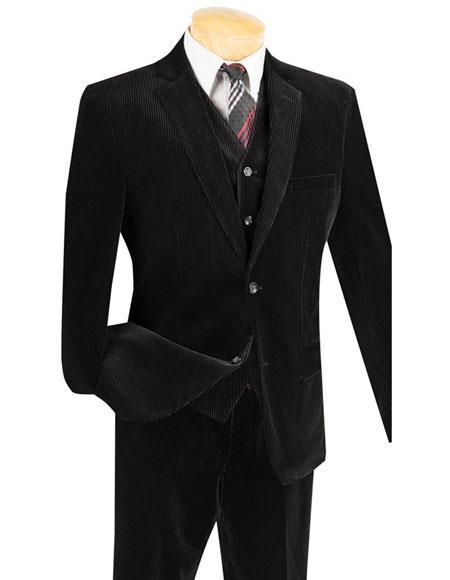Mens Black Two Buttons Pinstripe ~ Stripe corduroy vested suits Flat Front Pants Suit, act now only $159.00