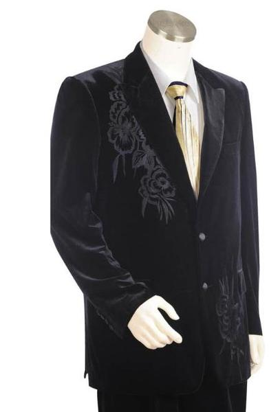 Mens Black Two Buttons Velvet Velour with pattern Peak Lapel Pleated Slacks Pants, act now only $199.00