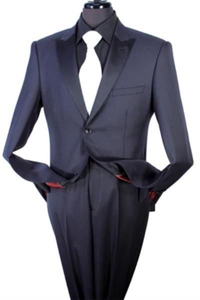 Mens Black Two Piece Taylor Fit 100% Wool Fabric Suit, act now only $175.00