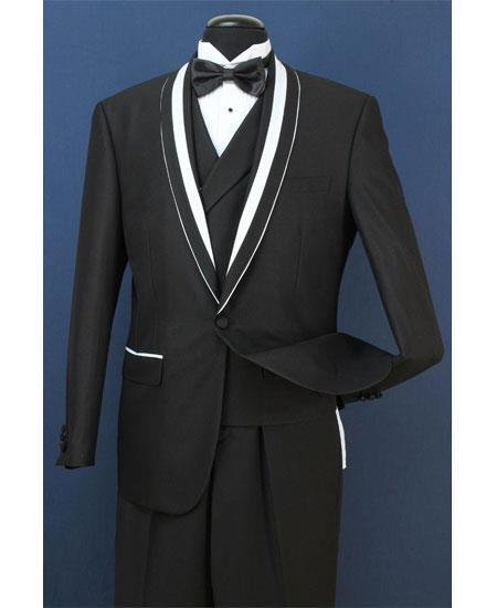 Mens Black Two Toned Trim Lapel Suit, act now only $199.00