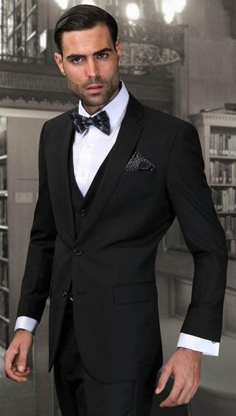 Mens Black Wool Fabric Slim narrow Style Fit Suits, act now only $165.00