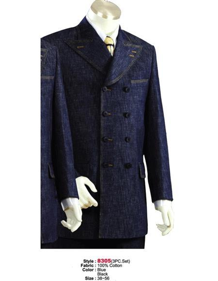 Mens Blue Four Button Denim Cotton Fabric Suit, act now only $175.00
