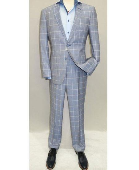 Mens Blue Pattern Two Button Style Single Breasted Suit, act now only $139.00