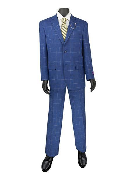 Mens Blue Plaid Window Pane Two Button Style Suit, act now only $140.00