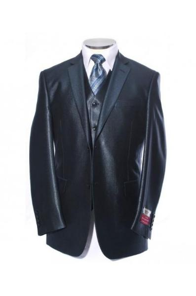 Mens Blue Shiny Satin Metallic Bright Sharkskin Two Button Style Suit, act now only $189.00