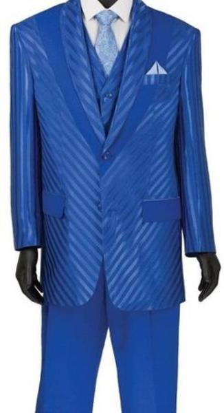 Mens Blue Shiny Stripe Single Breasted Two Button Suit, act now only $149.00