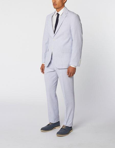 Mens Blue Single Breasted Notch Lapel Seersucker Cotton Double Vent Two Piece Suit, act now only $299.00