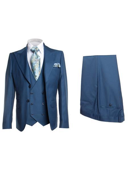 Mens Blue Single Breasted Two Button Style Suit, act now only $175.00