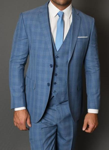 Mens Blue Statement Vested Three Piece Wool Windowpane Suit, act now only $185.00