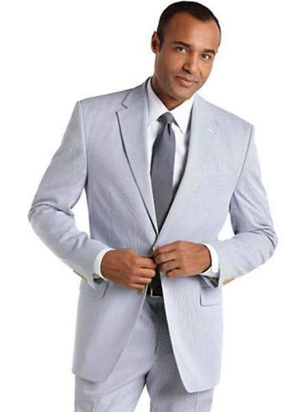 Mens Blue Summer Seersucker Fabric Suit, act now only $175.00