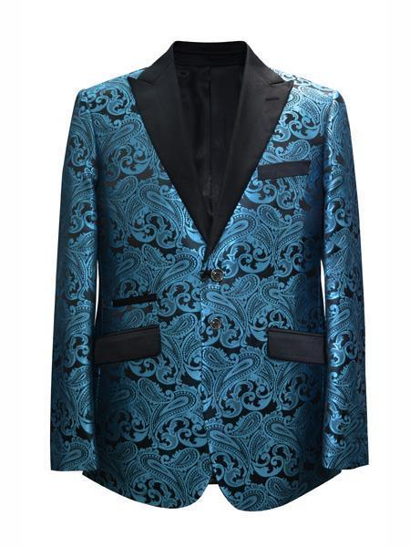 Mens Blue Torquise Two Button Style Suit, act now only $175.00