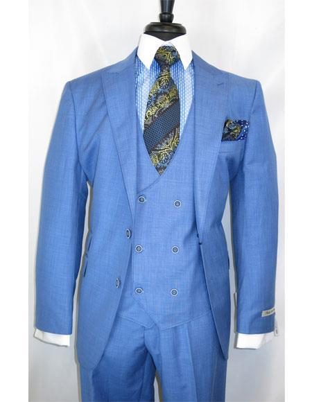 Mens Blue Two Button Single Breasted Plaid Suit, act now only $199.00