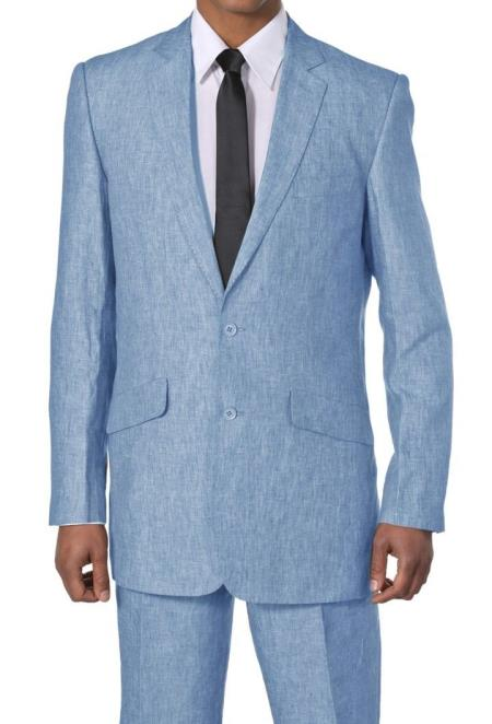 Mens Blue Two Button Style Luxurious Two Piece Linen Suit, act now only $125.00