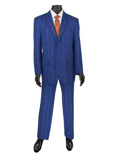 Mens Blue Two Button Style Plaid Window Suit, act now only $140.00