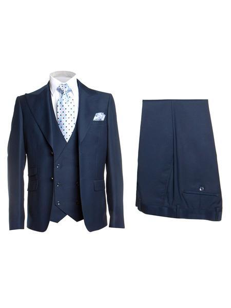 Mens Blue Two Button Style Single Breasted Slim Fit Suit, act now only $175.00